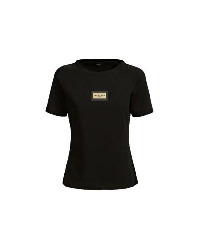 T-shirt Guess Marciano donna manica corta in cotone con placca metallica sul petto