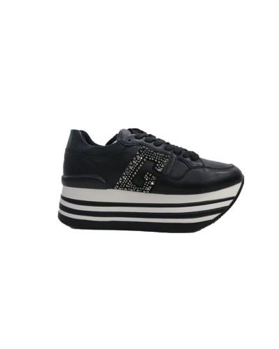 Scarpe Sneakers Gold&Gold conplatform in similpelle nera