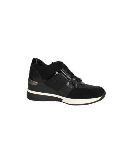 Scarpe Sneakers Gold&Gold con plato alto in tessuto e ecopelle nero