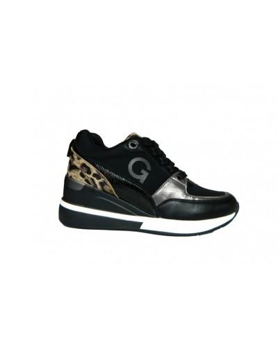 Scarpe Sneakers Gold&Gold con plato alto in tessuto e ecopelle nero e animalier