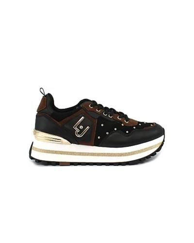 Scarpe Sneakers Liu jo maxi wonder trapuntata nera e cuoio con strass