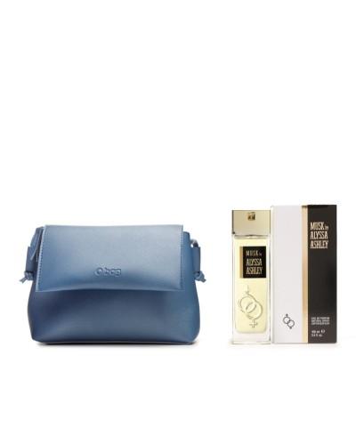 Cofanetto Alyssa Ashley Musk con profumo  eau de parfum 100 ml, e mini bag O-BAG blu