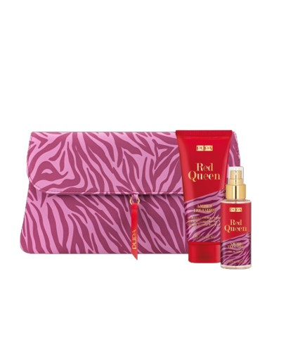 Kit Pupa Red Queen Amber Treasure con latte doccia profumato 200 ml, profumo eau de toilette 100 ml e pochette