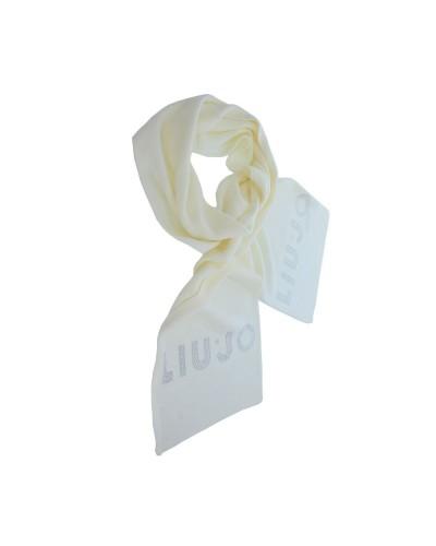 Sciarpa Liu Jo donna realizzata in maglia con morbidi intrecci e logo impreziosito da strass color bianco lana