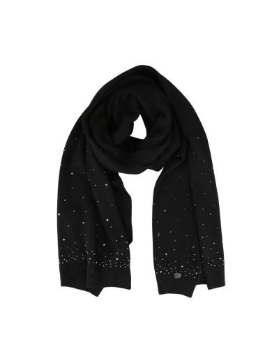 Sciarpa Liu Jo donna realizzata con morbidi intrecci in maglia e pioggia di strass applicati in abbinamento shopper in nylon co
