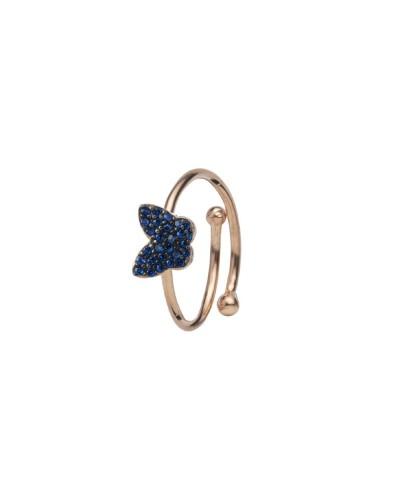 Anello Feelings rosato con farfalla blu
