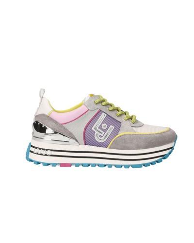 Scarpe Sneakers Liu Jo maxi wonder donna in ecopelle scamosciate e tessuto lila