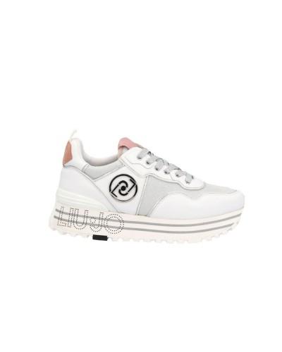 Scarpe Sneakers Liu Jo maxi wonder in ecopelle e camoscio bianche