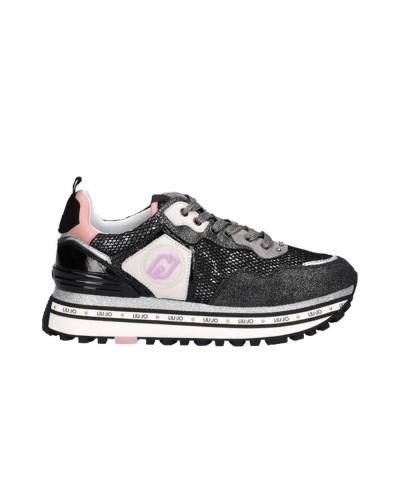 Scarpe Sneakers Liu Jo maxi wonder donna in ecopelle e tessuto nero