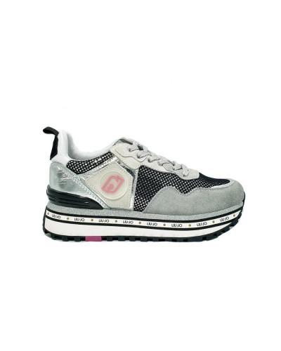 Scarpe Sneakers Liu Jo maxi wonder in ecopelle e camoscio grigia