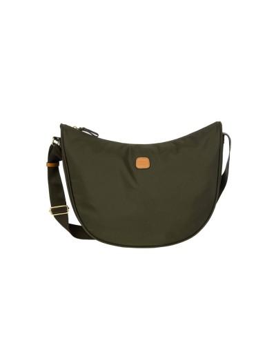 Borsa Bric's mezza luna media  X-Bag realizzata in nylon satinato con rifiniture in pelle.