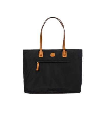 Borsa Bric's x-bag con fascia fissaggio per trolley e divisirio imbottito per tablet in nylon satinato con dettagli in pelle