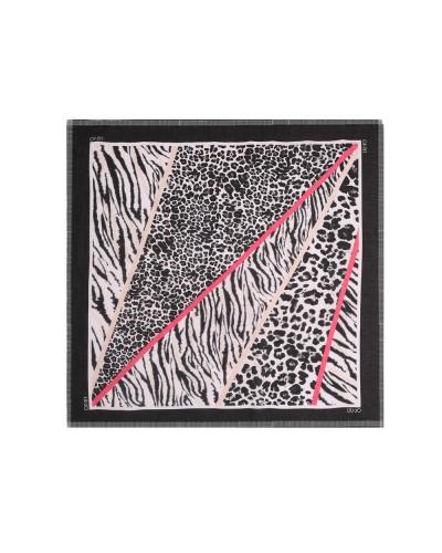 Foulard Liu Jo donna nero fantasia aniimalier quadrato 120x120