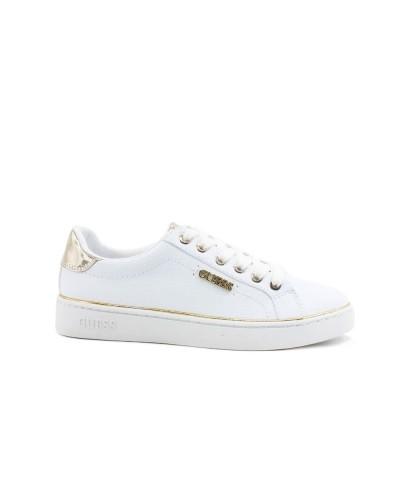 Scarpa Sneakers Guess Donna logata  in similpelle bianca con inserti laminati e logo laterale