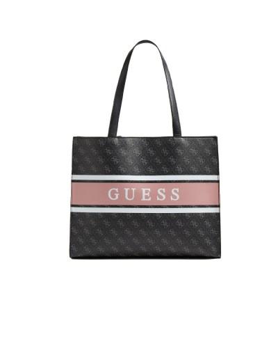 Borsa Shopper Guess Donna logata con fascia frontale con logo in similpelle grigia