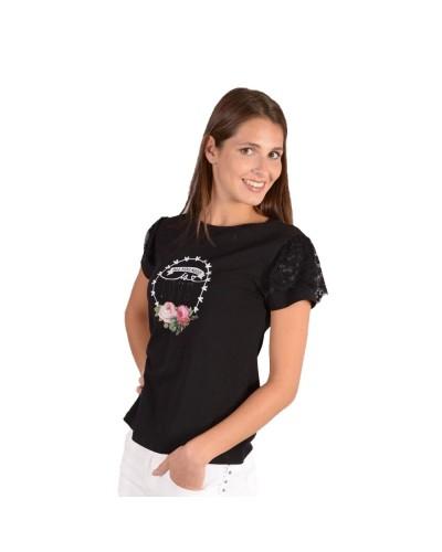 T-Shirt Mimì Muà donna Love con pizzo su maniche