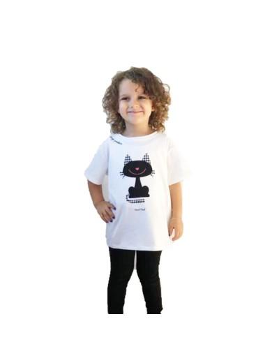 T-Shirt Mimì Muà bimba con gattino pied de poule