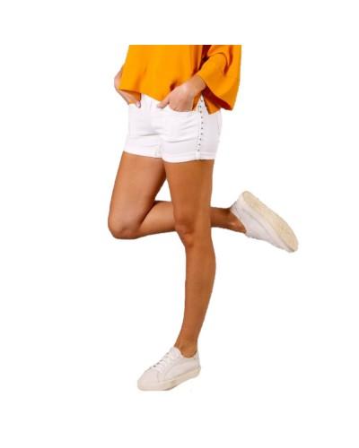 Shorts Mimì Muà donna in jeans con borchie laterali dorate e argento