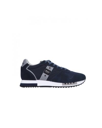 Scarpe Sneakers Blauer uomo allacciate stile running in scamosciato e nylon