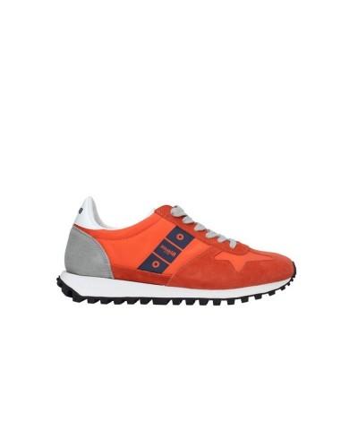 Scarpe Sneakers Blauer uomo allacciate in stile running in scamosciato e nylon arancio
