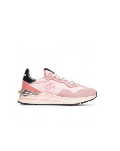 Scarpe Sneakers Blauer donna allacciate stile running in scamosciato e nylon rosa