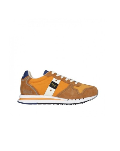 Scarpa Sneakers Blauer uomo allacciata stile running in scamosciato e nylon ocra