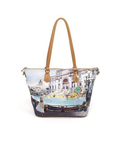 Borsa Shopping Ynot donna media con tracolla raffigurante fontana di Trevi