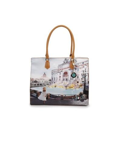 Borsa Shopping Ynot donna raffigurante fontana di Trevi