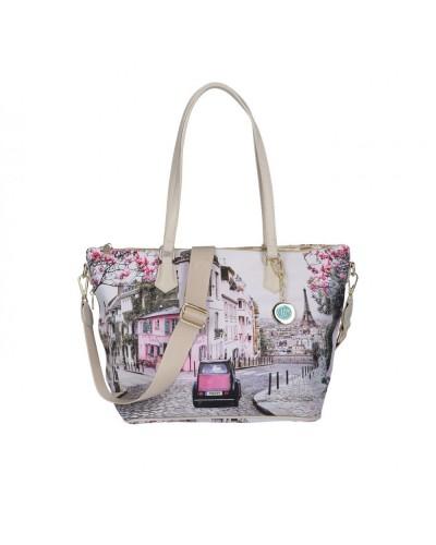 Borsa Shopping Ynot donna piccola con tracolla raffigurante Parigi