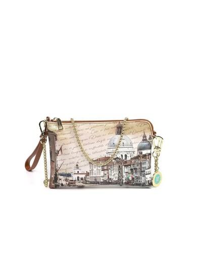 Borsa Clutch Ynot donna piccola con tracolla e polsiera raffigurante canal grande di Venezia