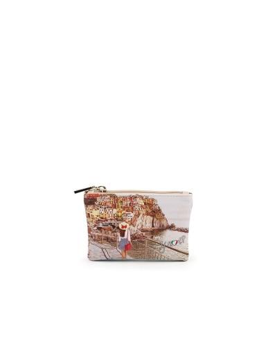 Pochette Ynot donna piccola con cerniera raffigurante il tramonto sul mare