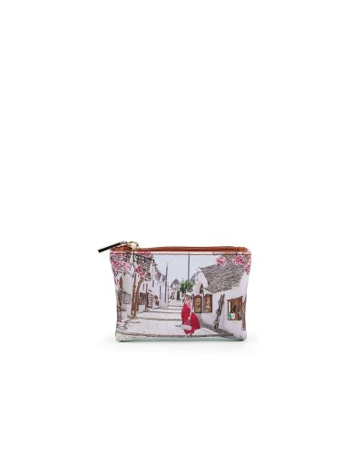 Pochette Ynot donna piccola con cerniera raffigurante Alberobello