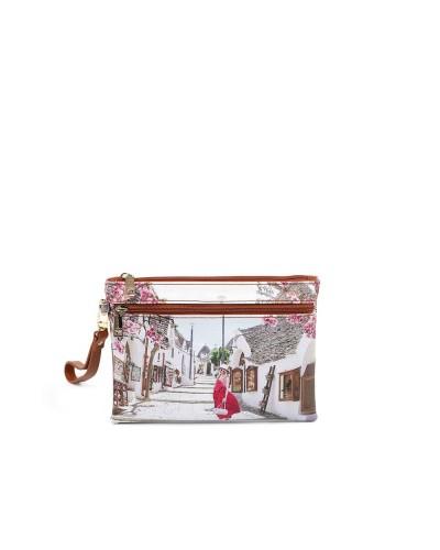 Pochette Ynot donna media con doppia cerniera e polsiera raffigurante  Alberobello