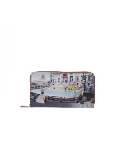 Portafoglio Ynot donna con zip raffigurante la fontana di Trevi