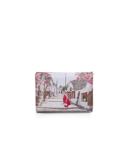 Portafoglio Ynot donna con patta e cerniera raffigurante Alberobello