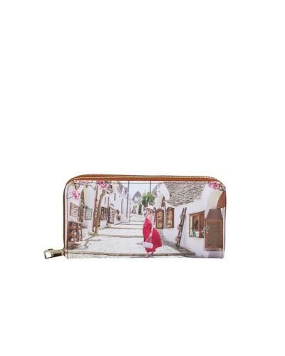 Portafoglio Ynot donna con doppia cerniera raffigurante Alberobello