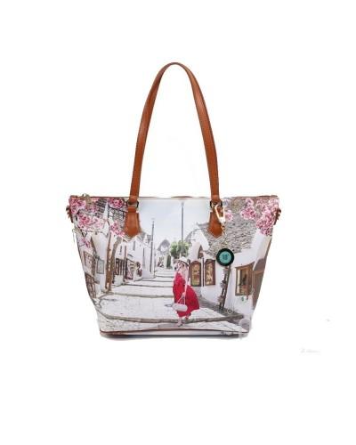 Borsa Shopping Ynot donna piccola con tracolla raffigurante Alberobello