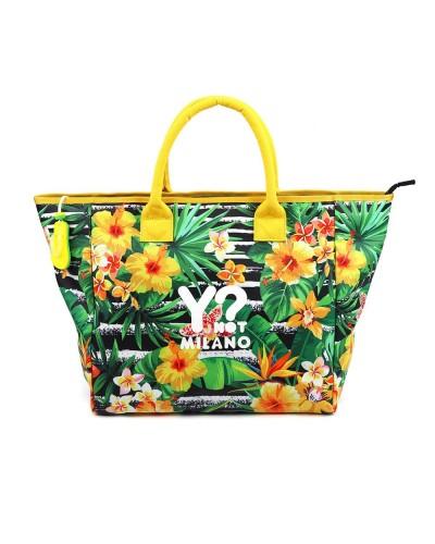 Borsa mare Ynot donna con stampa floreale e chiusura zip