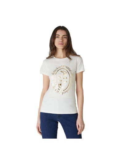 T-shirt Trussardi donna in cotone over fit con stampa