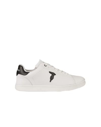 Scarpe Sneakers Trussardi uomo in pelle stringata con patch monogram