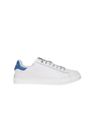 Scarpe Sneakers Trussardi uomo Danus in pelle con lacci logati e micro fantasie a rilievo