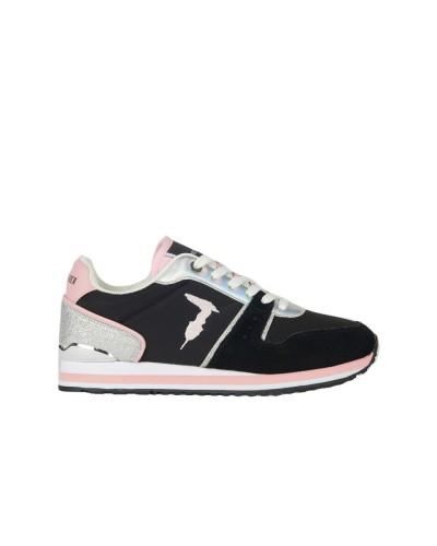 Scarpe Sneakers Trussardi donna Berberis stringata in nylon con inserti scamosciati