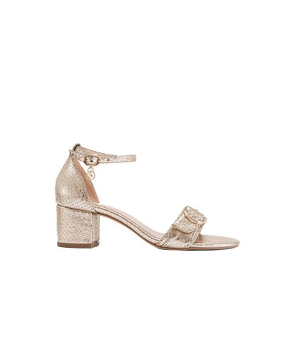 Sandalo Gattinoni donna laminato con cinturino alla caviglia e fibbia dorata