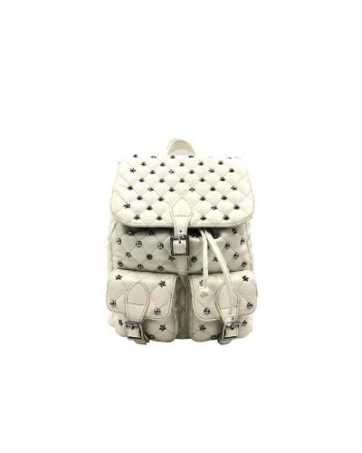 Zaino L'atelier du sac donna Rebel bianco con stelle e borchie con patta e pashmina in omaggio