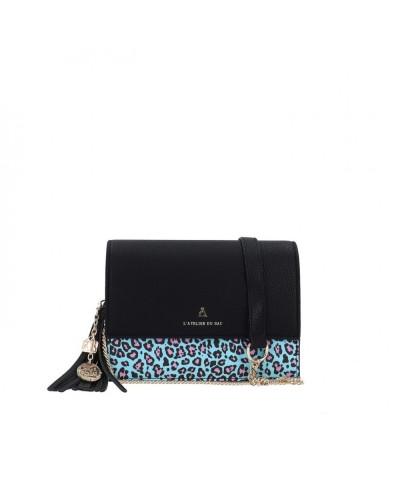Borsa A Tracolla L atelier du sac donna Mowgli animalier azzurra