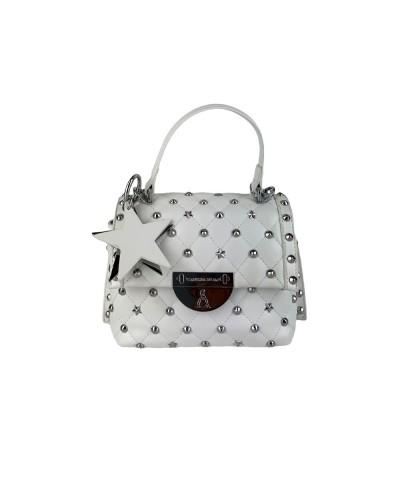 Borsa A Mano L atelier du sac donna bianca con borchie e stelle con tracolla