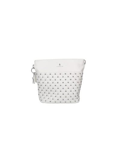Borsa A Spalla L atelier du sac donna bianca con borchie e stelle con tracolla  e  pashmina in omaggio