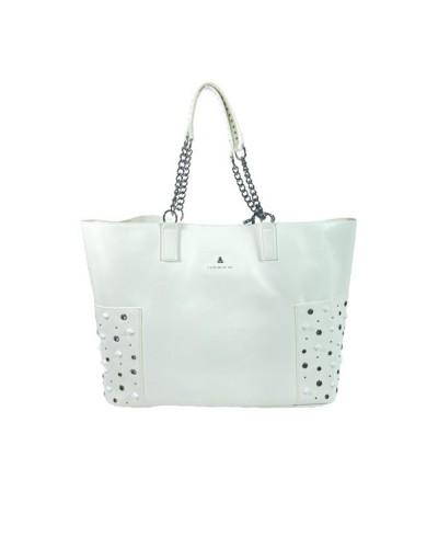 Borsa Shopping  L atelier du sac donna Just dance  bianca con borchie con tracolla e pashmina in omaggio