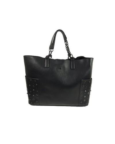 Borsa Shopping  L atelier du sac donna Just dance  nera con borchie con tracolla e pashmina in omaggio