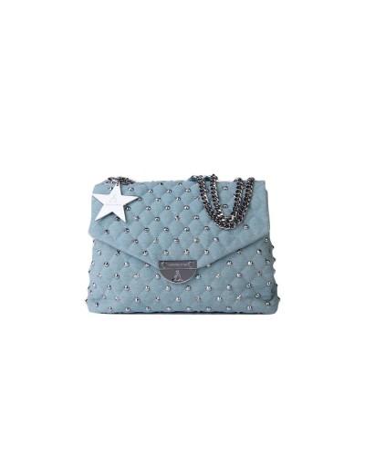 Borsa A Spalla L atelier du sac donna Rebel con borchie e stelle in demin chiaro con  pashmina in omaggio